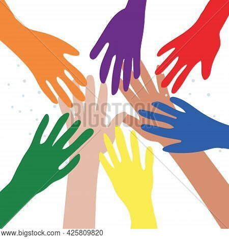Vector Illustration Of The Lgbt Community. Hands Of Different Colors. Lgbtq Symbolism. Human Rights