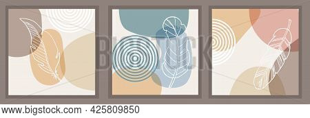 Abstract Pattern, Organic Simple Shapes And Natural Botanical Elements. Collage Style, Minimal And N