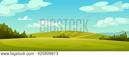 Green Fields Landscape, Rural Hills, Pasture Grass, Meadows And Trees, Blue Sky On Background. Grass
