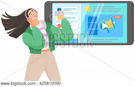 Young Teen Girl Listening To Her Favorite Music Through Mobile App. Application For Listening To Son