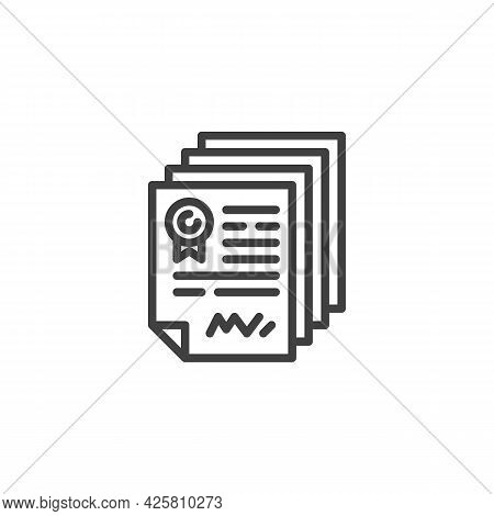 Contract Document Line Icon. Linear Style Sign For Mobile Concept And Web Design. Agreement Contract