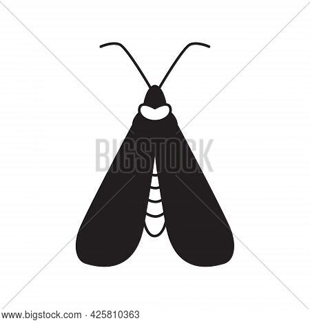 Mystical Boho Moth In Outline Style. Vector Magic Butterfly. Vintage Monochrome Print. Celestial Ins