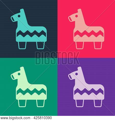 Pop Art Pinata Icon Isolated On Color Background. Mexican Traditional Birthday Toy. Vector