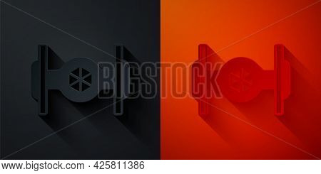 Paper Cut Cosmic Ship Icon Isolated On Black And Red Background. Paper Art Style. Vector