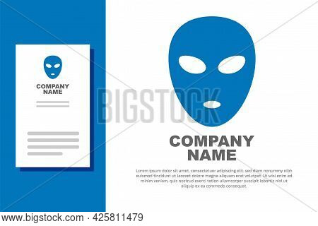 Blue Alien Icon Isolated On White Background. Extraterrestrial Alien Face Or Head Symbol. Logo Desig