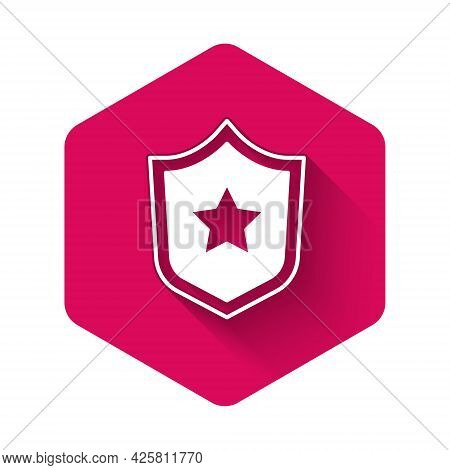 White Police Badge Icon Isolated With Long Shadow Background. Sheriff Badge Sign. Shield With Star S