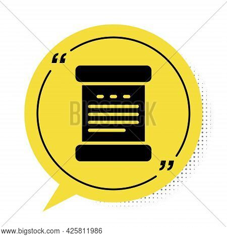 Black Declaration Of Independence Icon Isolated On White Background. Yellow Speech Bubble Symbol. Ve