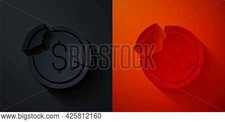 Paper Cut Dollar Rate Decrease Icon Isolated On Black And Red Background. Cost Reduction. Money Symb