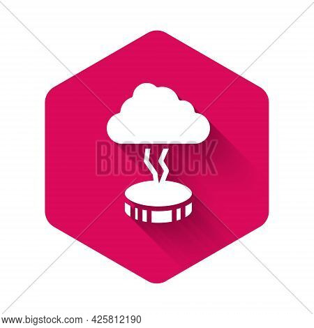 White Storm Icon Isolated With Long Shadow Background. Cloud And Lightning Sign. Weather Icon Of Sto