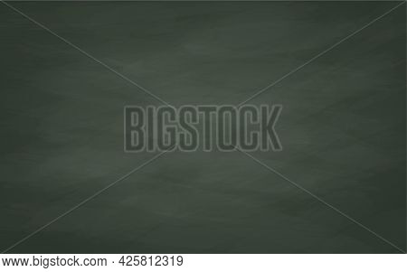 Dark Black Blackboard With Chalk Marks And Water Marks. Realistic Vector Chalk Board Texture. Educat