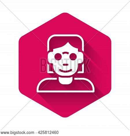 White Hacker Or Coder Icon Isolated With Long Shadow Background. Programmer Developer Working On Cod