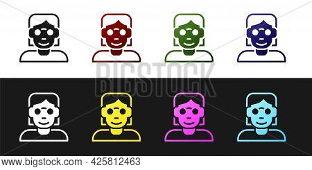 Set Hacker Or Coder Icon Isolated On Black And White Background. Programmer Developer Working On Cod