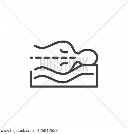 Correct Sleeping Position Line Icon. Linear Style Sign For Mobile Concept And Web Design. Sleeping S