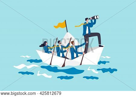 Leadership To Lead Business In Crisis, Teamwork Or Support To Achieve Target, Vision Or Forward Stra