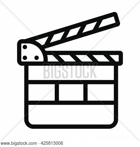 Clapperboard Icon. Bold Outline Design With Editable Stroke Width. Vector Illustration.