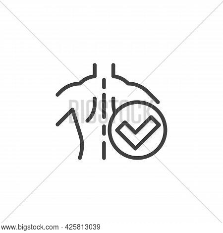 Correct Posture Line Icon. Linear Style Sign For Mobile Concept And Web Design. Good Spine Posture O