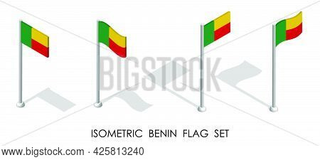 Isometric Flag Of Republic Of Benin In Static Position And In Motion On Flagpole. 3d Vector