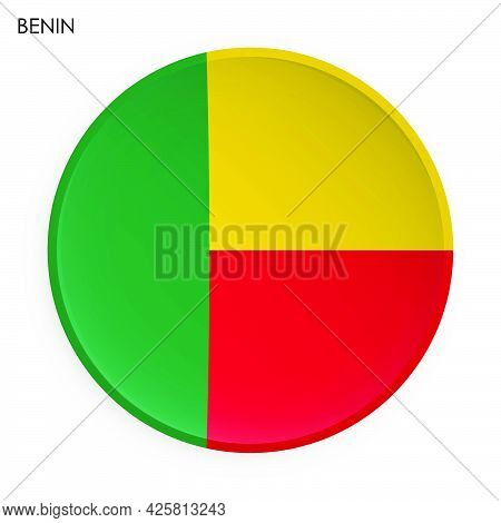 Republic Of Benin Flag Icon In Modern Neomorphism Style. Button For Mobile Application Or Web. Vecto