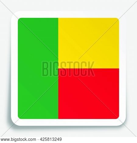Republic Of Benin Flag Icon On Paper Square Sticker With Shadow. Button For Mobile Application Or We
