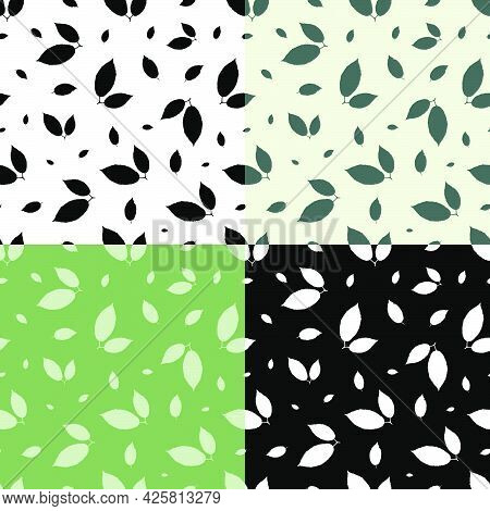Set Of Seamless Patterns With Silhouettes Of Ash Tree Leaves. Ornament For Decoration And Printing O