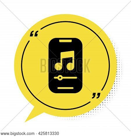 Black Music Player Icon Isolated On White Background. Portable Music Device. Yellow Speech Bubble Sy