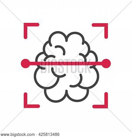 Brain Mri Or Ct Scanning And Clinical Radiology Diagnostic Vector Icon Line Outline Stroke Design Is
