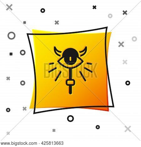 Black Magic Staff Icon Isolated On White Background. Magic Wand, Scepter, Stick, Rod. Yellow Square