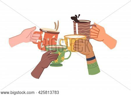 Hands With Coffee Or Tea, Isolated Cheers To Toasting, Celebration And Leisure. Aromatic Beverage Wi