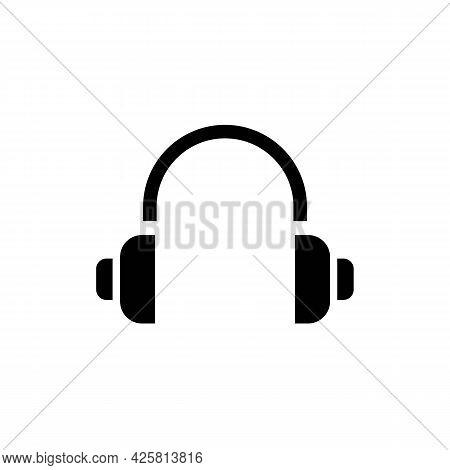 Simple Minimalistic Headphones, Earphones Solid Black Line Icon. Trendy Flat Style Isolated Symbol,
