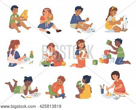 Boys And Girls Playing And Studying Kindergarten, Isolated Kids With Numbers And Pencils. Drawing An