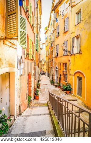 View Of Cosy Street In Old Town Of Nice, France, French Riviera, Toned