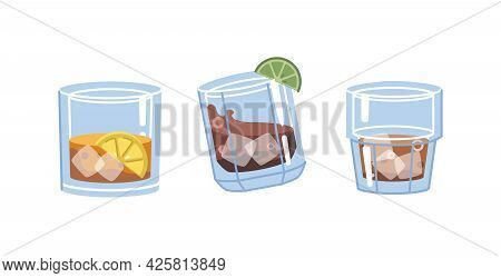 Glasses With Strong Alcoholic Drinks, Isolated Cups Filled With Liquid And Lime Slice. Brandy Or Cog
