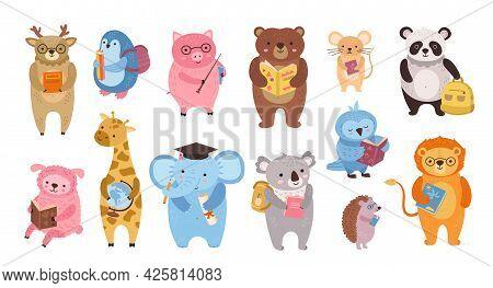 Smart Animals. Cute Animal Teacher, Owl Study In School. Cartoon Education Books Characters For Litt
