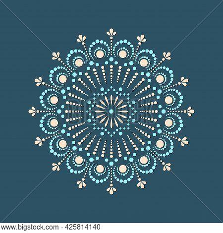 Vector Dot Painting Mandalas. Aboriginal Style Of Dot Painting