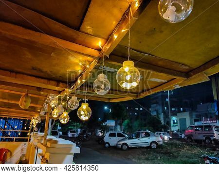 Stock Photo Of Decorative Light Garland Hanging On House Roof For Party In The Night Time At Kolhapu