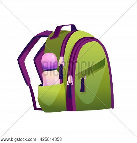 Boyish Or Unisex Model Of Satchel For School. Isolated Bag Of Textile For Carrying Personal Belongin