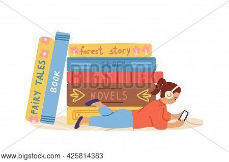 Audiobooks Concept. Little Kid Listen Book On Smartphone. Girl Listening Literature Podcast. Online