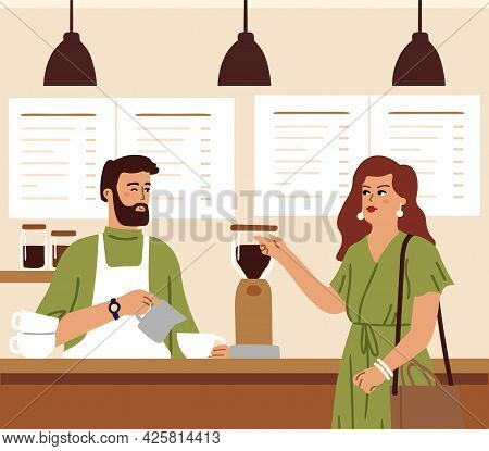 Coffee Shop. Barista Makes Coffee Drink For Woman. Morning In Cafe, Cafeteria Customer Need Caffeine