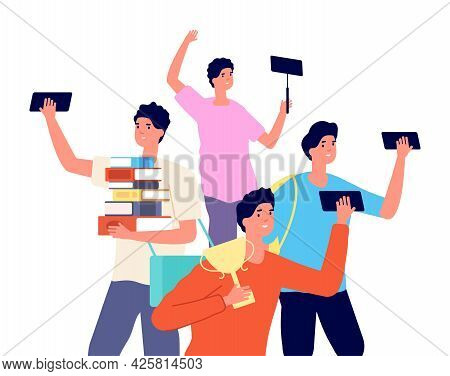 Male Blogger. Boy Photos On Smartphone, Young Vlogger With Gadget. Social Media Addiction Vector Con