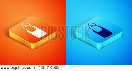 Isometric Broken Nail Icon Isolated On Orange And Blue Background. Cracked Fingernail. Vector