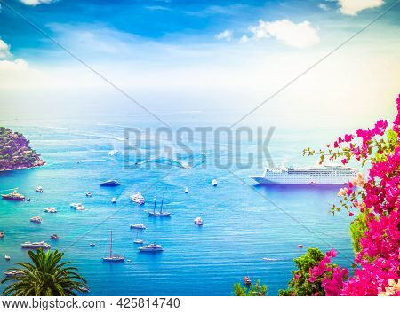 Colorful Coast And Blue Water With Boats And Ships, Cote Dazur Provence, France, At Summer
