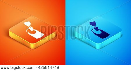 Isometric Milling Cutter For Manicure Icon Isolated On Orange And Blue Background. Apparatus For Man
