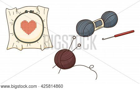 A Set Of Colored Doodles. Needlework, Embroidery With A Heart, Yarn, Skein Of Thread, Hook, Knitting