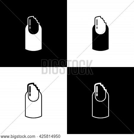 Set Broken Nail Icon Isolated On Black And White Background. Cracked Fingernail. Vector