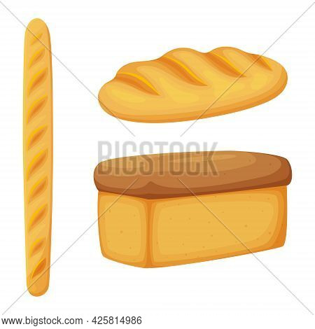 Loaf, French Baguette, Bread. Bakery Products, Pastries, Bread. Food, A Food Ingredient. Flat, Carto