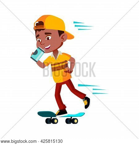 Boy Riding Skateboard And Drinking Drink Vector. African Preteen Child Skateboarding And Drinking So