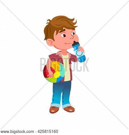 Boy Child Drinking Water On Playground Vector. Little Kid Drink Water Bottle After Ball Game In Kind