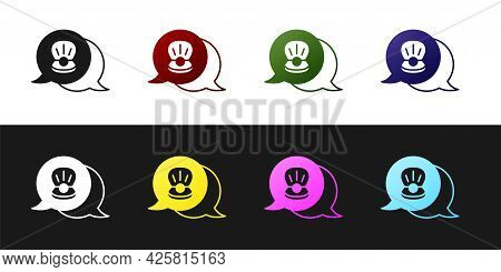 Set Scallop Sea Shell Icon Isolated On Black And White Background. Seashell Sign. Vector