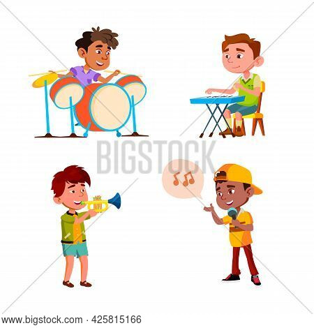 Kids Boys Playing In Music Orchestra Set Vector. Children Play In Music Orchestra And Singing Song T