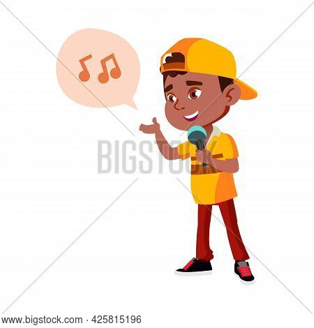 Boy Kid Singer Singing Song In Microphone Vector. African Infant Singing Song In Mic Electronic Devi